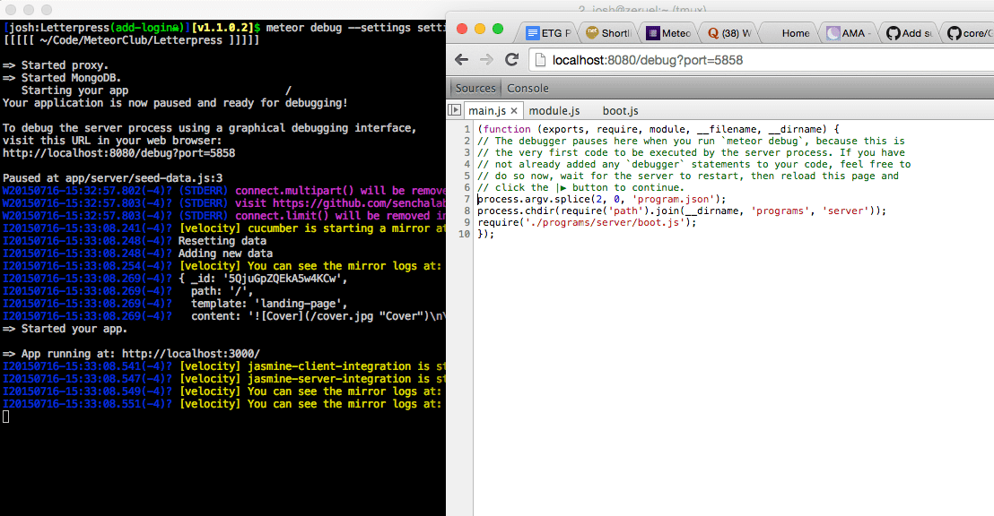 Easily debugging meteor js